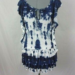 Tommy Girl Dress Tie Dye Ruffle Blue Mini New